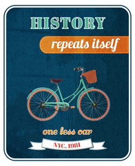 Hipster bicycle promo poster