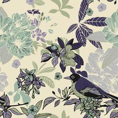 Silk flowers and birds seamless pattern