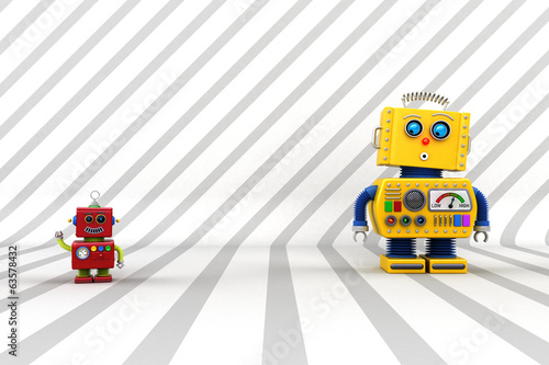 Surprised robot buddies in front of striped background