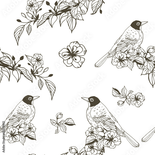 Seamless romantic silhouette pattern