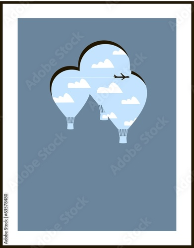 Hot air balloons in the sky, on a blue background