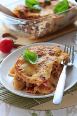 Beef lasagna on the white plate
