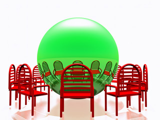 red chairs and green sphere