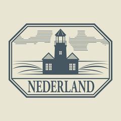 Stamp or label with word Nederland inside, vector illustration