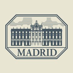 Stamp or label with word Madrid inside, vector illustration