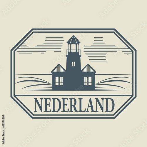 Stamp or label with word Nederland inside, vector illustration