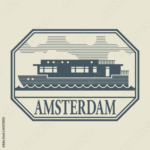 Stamp or label with word Amsterdam inside, vector illustration