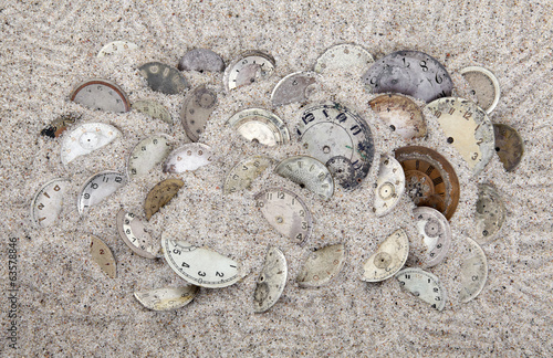 Antique watch faces in the sand. Lost time concept.
