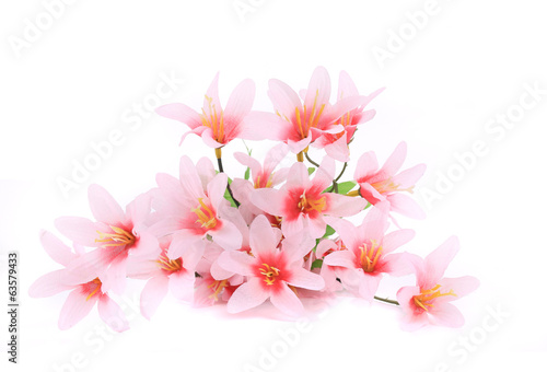 Artificial pink flowers.
