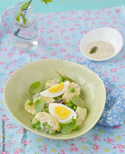 spring potato salad with sorrel and eggs