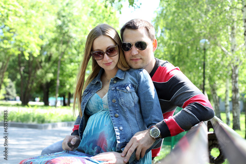 Young couple lover in summer park