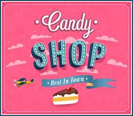 Candy shop typographic design.