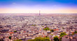 Panoramic view of Paris from Montmartre in dreamy postcard style