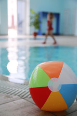 in a water pool  a children's ball