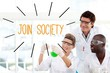 Join society against scientists working in laboratory
