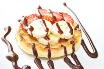 Waffle Dessert with Fresh Fruit and Chocolate Sryup