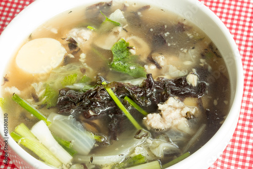 soup with seaweed and minced pork