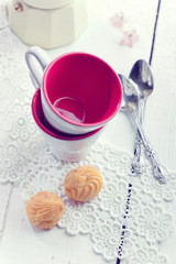 Espresso coffee cups, italian mocha and small biscuits