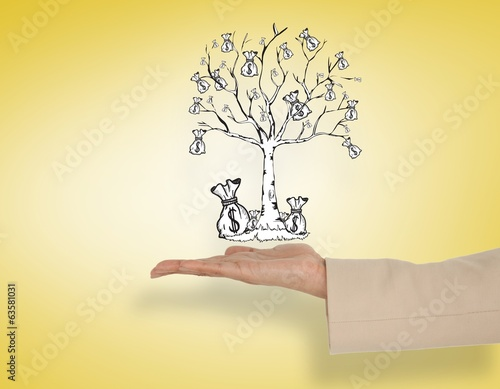 Composite image of female hand presenting money tree