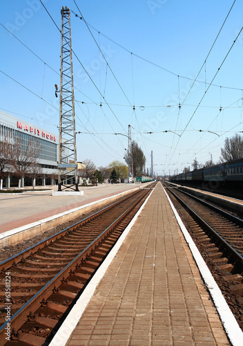Railway station in Mariupol, Ukraine.