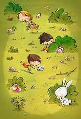 niños y conejo de Pascua