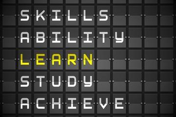 Learn buzzwords on black mechanical board