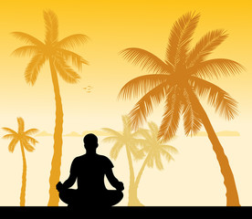 Isolated man meditating and doing yoga exercise silhouette