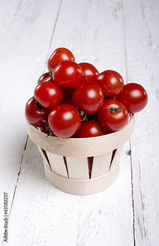 Cherry Tomatoes in a recycle bin