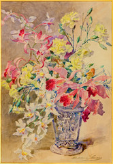 Watercolor of bouquet  in palace Saint Anton
