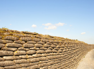Trenches of death WW1 sandbag flanders fields Belgium