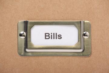 Bills Drawer Label on a cardboard drawer or storage box