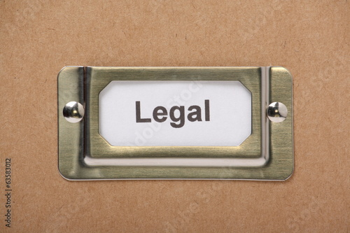 Legal Drawer Label on a cardboard drawer or storage box