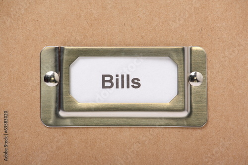 Bills Drawer Label on a cardboard drawer or storage box