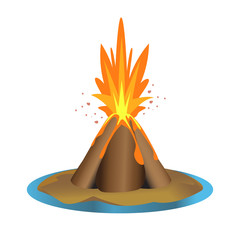 vector volcano illustration