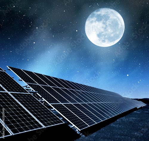solar energy panels in night
