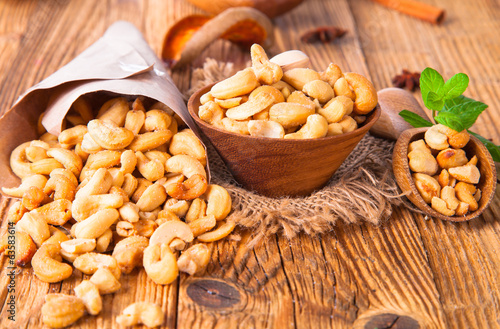 nuts on wooden