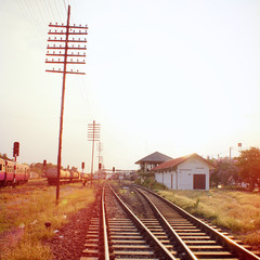 Old railway station with retro filter effect