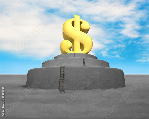 Money symbol on top of concrete structure