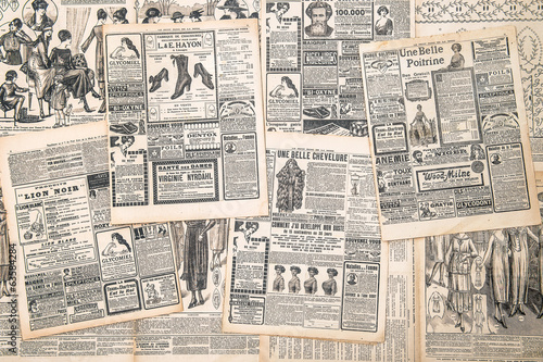 Poster newspaper pages with antique advertisement