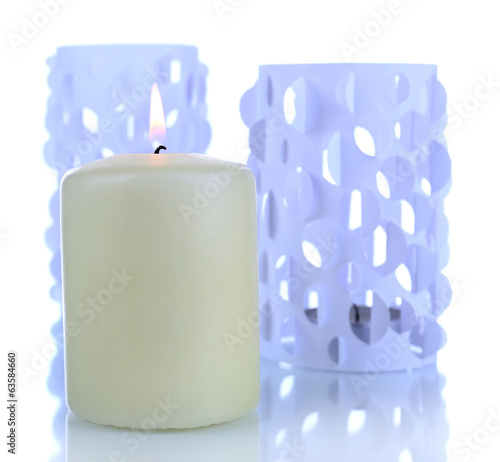 Home decor, candle lights isolated on white