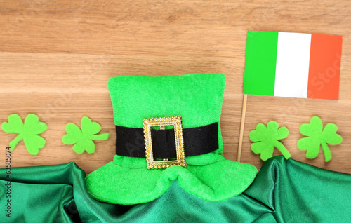 Saint Patrick day hat with clover leaves and Irish flag