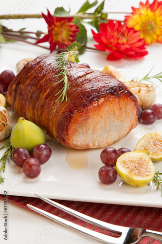 Bacon-wrapped Pork Loin with Fruits
