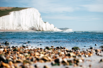White Chalk Cliffs as seen from the beach angle