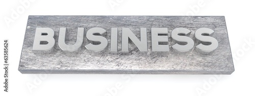Business, metal letters. 3D illustration