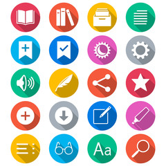 E-book reader flat color icons