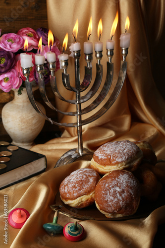 Festive composition for Hanukkah on cloth close-up