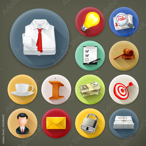 Business and office, long shadow icon set