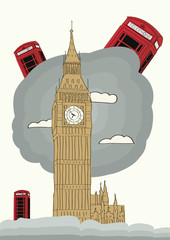 london vector illustration with big ben and red phone box