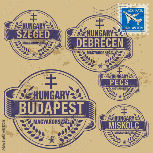 Grunge rubber stamp set with names of Hungary cities