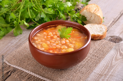 Bean soup in ceramic bowl